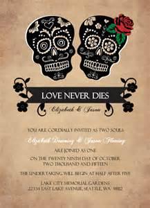 wedding invitations day of the dead skulls wedding invitation