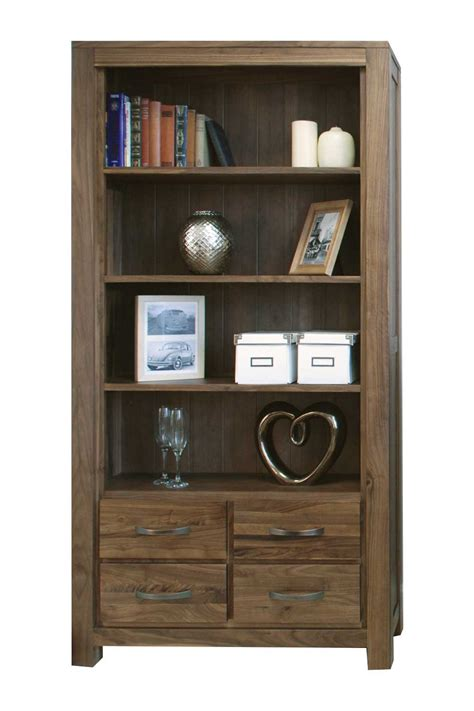 modern walnut large bookcase with drawers hshire