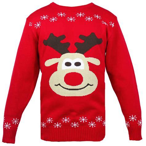 printable christmas jumper ladies mens knitted christmas jumper rudolph print in warm