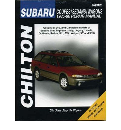 subaru legacy automotive repair manual sagin workshop subaru impreza legacy justy xt svx brat and 1 6 1 8 l series 1985 96 sagin workshop