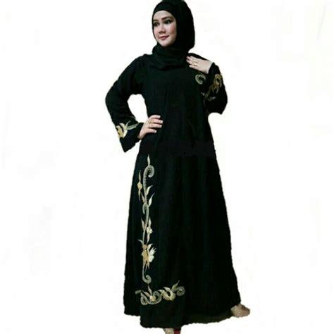 Baju Gamis Abaya Saudi Bordir baju gamis hitam polos