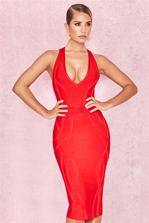 deep v plunge dress clothing bandage dresses cici red deep v plunge