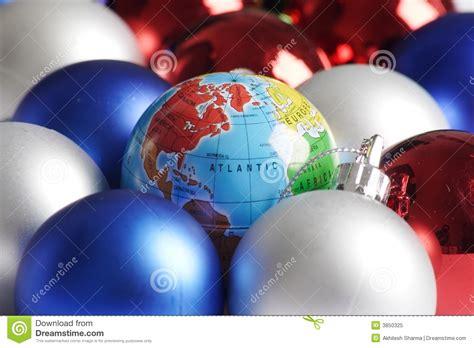 christmas decorations and world stock image image 3850325