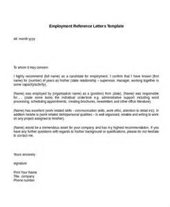 9 employment reference letter templates free sle