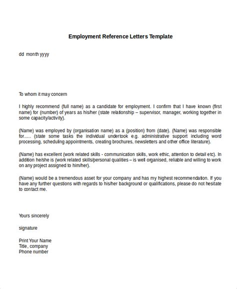 Recommendation Letter For Work Format 10 Employment Reference Letter Templates Free Sle