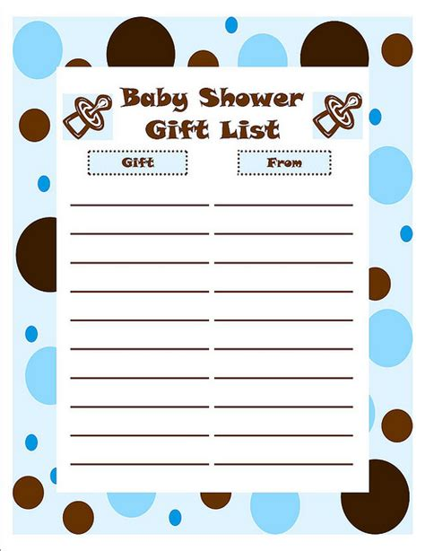 printable baby shower gift list template baby shower boy gift list baby shower checklist and baby