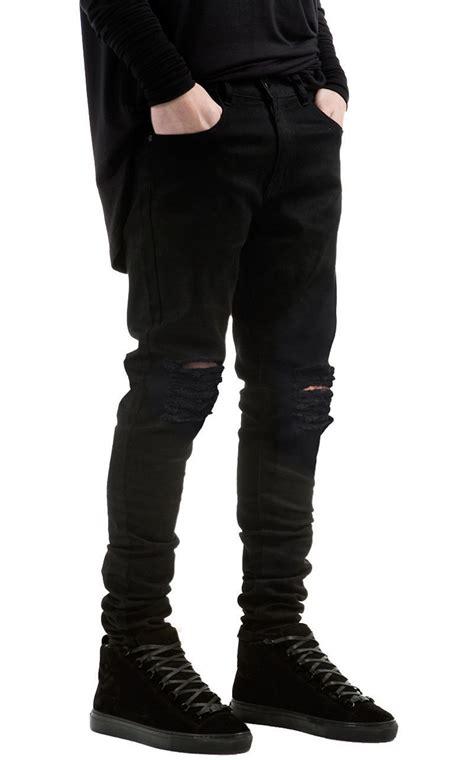 skinny jeans black mens ripped black biker jeans men brand skinny destroyed denim