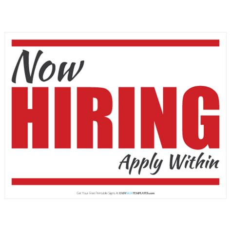 On Cus Jobs Now Hiring Sign Template Free