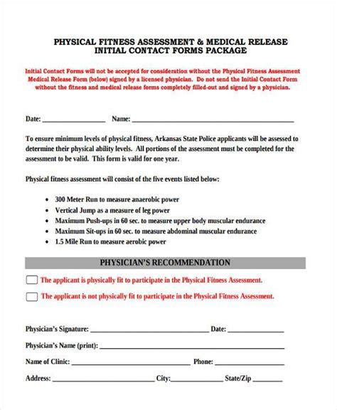 fitness assessment form 8 fitness assessment form sles free sle exle