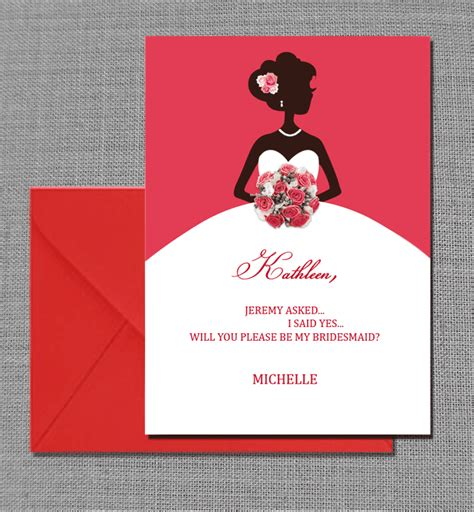 Bridesmaid Card Template Free by Will You Be My Bridesmaid Card Wedding Invitation