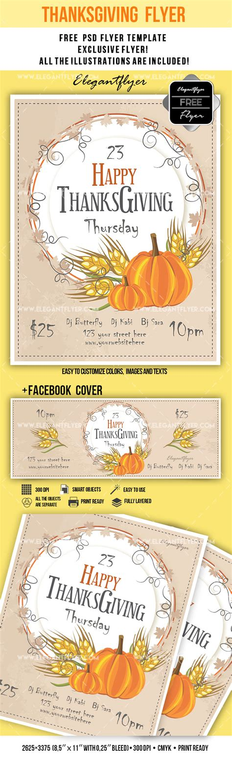 thanksgiving card template psd free flyer for thanksgiving day festival by elegantflyer
