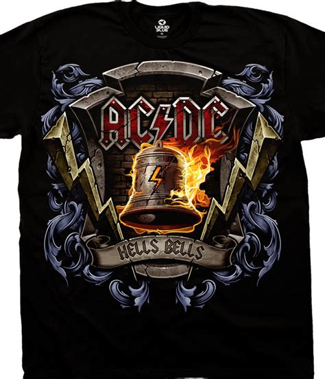 Ac Dc 43 T Shirt Size S ac dc hells bells shield black t shirt liquid blue