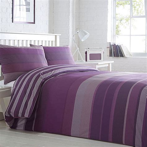 debenhams bedding duvet sets home collection basics purple striped stanford striped