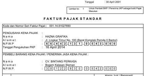 membuat faktur pajak otomatis hazna grafika contoh faktur pajak