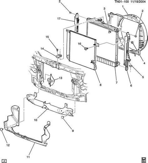 hummer h3 parts diagram 06 07 08 09 hummer h3 radiator air deflector baffle