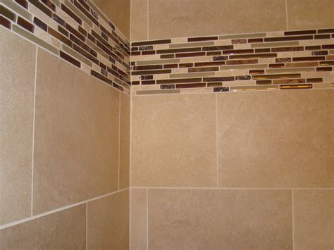 Glass tile border modern bathroom cleveland by architectural justice