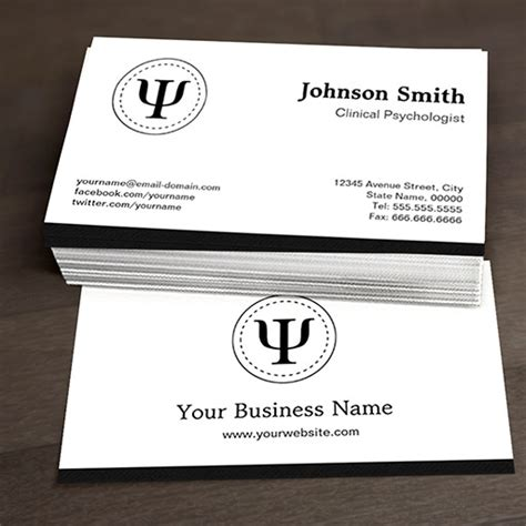 clinical psychologist psychology psi symbol business cards