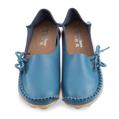 casual loafers moccasins casual leather slip on walking bowed flat loafers