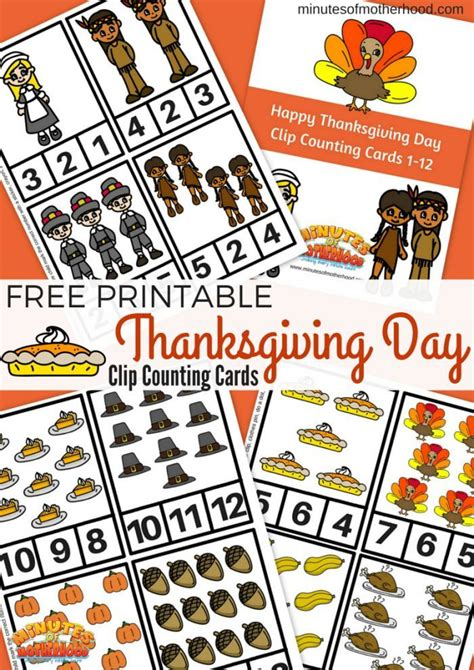 printable thanksgiving day cards free free printable thanksgiving day clip counting cards 1 12
