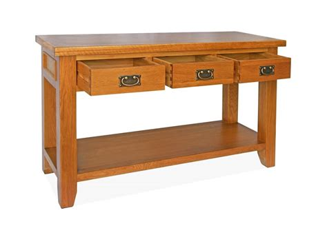 sofa table with 3 drawers canterbury oak console table with 3 drawers