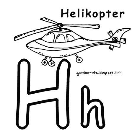 Aku Bisa Menghafal Huruf Abc mewarnai huruf quot h quot gambar helikopter contoh gambar mewarnai
