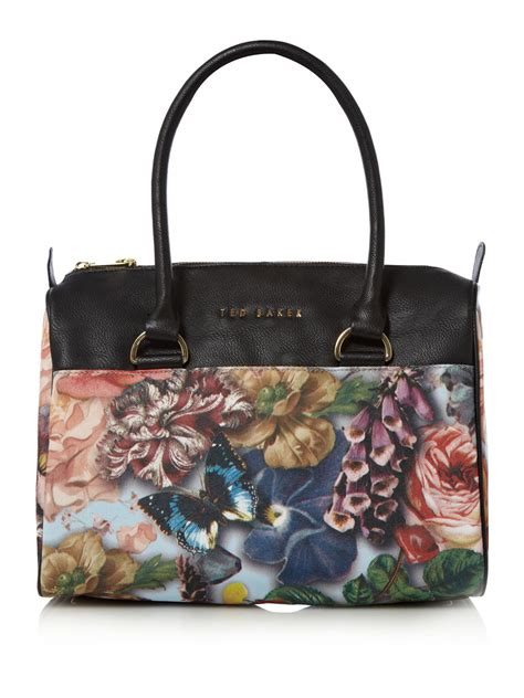 Ted Baker Canvas Printed Tote Bag by Ted Baker Souari Floral Canvas Bowling Bag In Multicolor