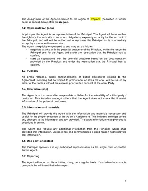 agreement in principle template agency agreement exle template