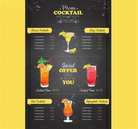 18 Vintage Menu Templates Free Psd Ai Vector Eps Format Download Free Premium Templates Cocktail Menu Template Free