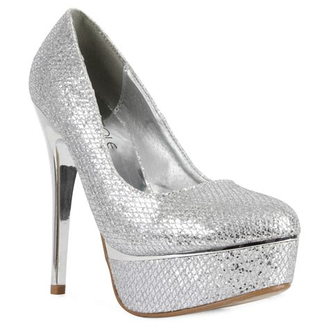 silver metallic high heel shoes new glittery platform silver womens metallic high