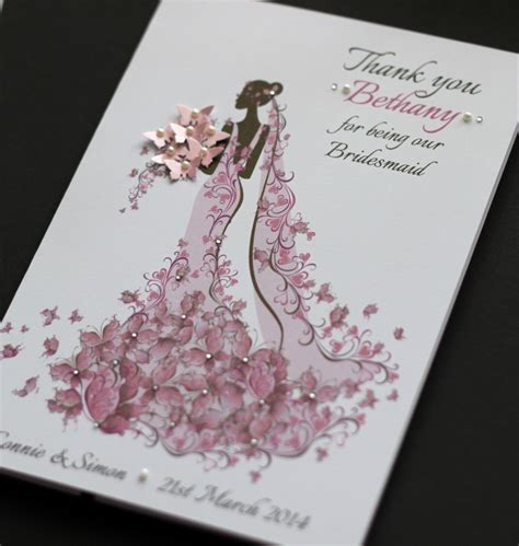large a5 handmade personalised thank you card bridesmaid