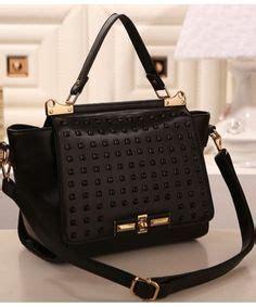Tas Impor C90469 Black Leather Shoulder Bag Fashion Korea Garis Garis tas import r2786 tas korea harga murah merek berkualitas