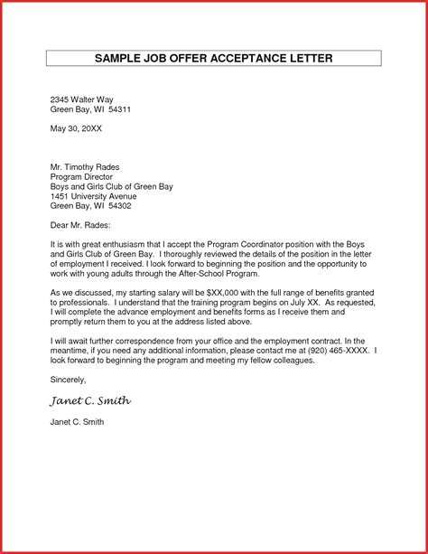 Acceptance Letter Format For acceptance letter sle how to format cover letter