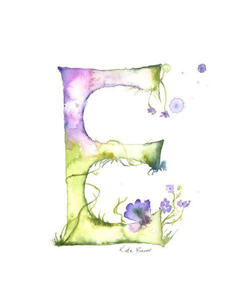 monogramma lettere letter e watercolor monogram flower by milkandhoneybread