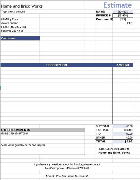 estimate template for google docs 12 free sle home repair estimate templates printable
