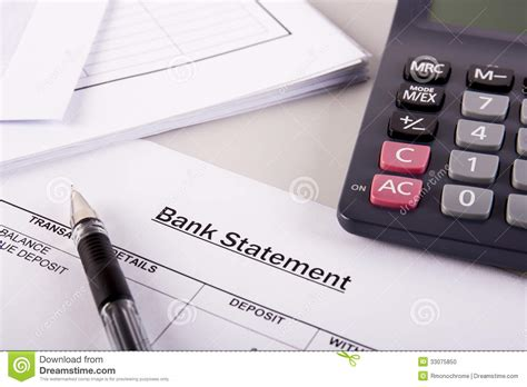 Bank Statement Analysis Stock Photo Image Of Company 33075850 Bank Statement Template Calculator