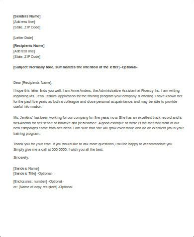 Recommendation Letter Vs Reference Personal Recommendation Letter 6 Exles In Word Pdf