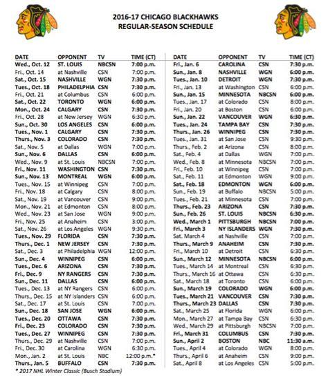 Blackhawks Schedule Calendar Blackhawks Release Complete Tv Schedule For 2016 17 Season