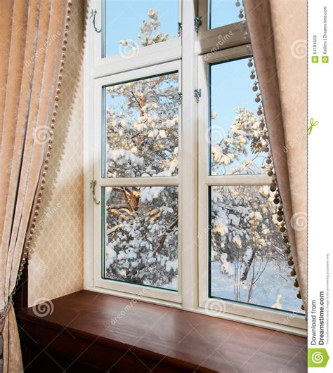 winter kitchen curtains window with curtains in winter stock photo image 64184558