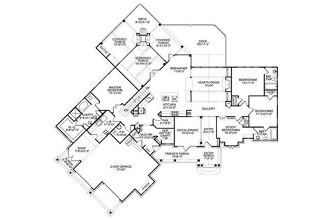Nantahala House Plan Mountain Ranch Style House Plan Nantahala House Front Floor I Would Expand The Master