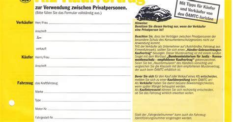 Kaufvertrag Auto Sterreich Pdf by Kfz Kaufvertrag Privat Kaufvertrag In Vordruck Formular