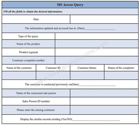 access form templates ms access query form template