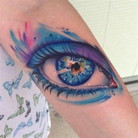 eyeball tattoo colors beautiful water color eye tattoo realistic body art