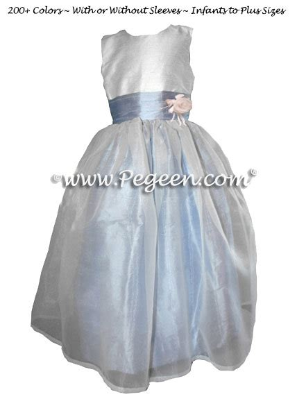18465 White Flower Denim Skirt white and blue denim flower dresses with organza