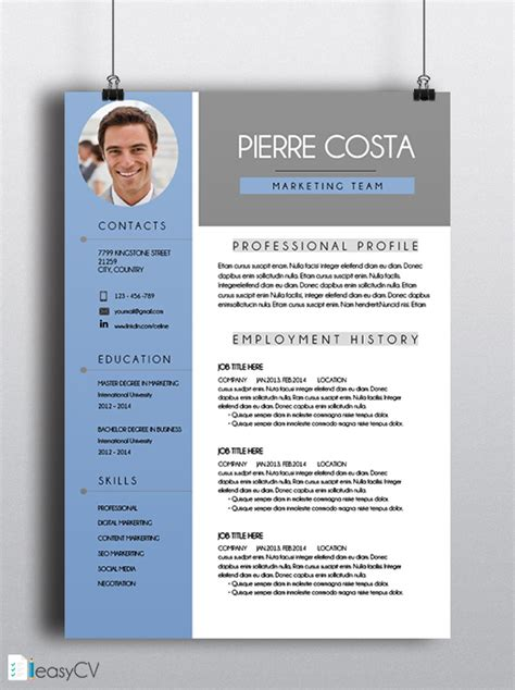 cv resume template pierre easycv modern resume word