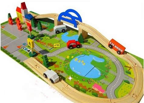 my track house 40 pcs children wooden vehicle blocks toys kids child rail overpass with car track