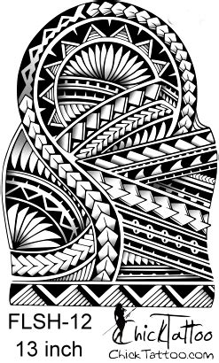 polynesian style 1 2 sleeve flash design tattoos