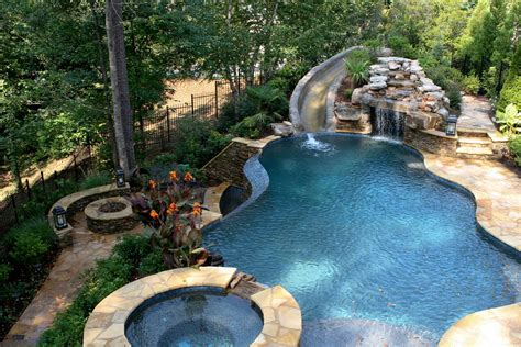 Pool With Slide Waterfall Grotto Cave Cave Swimming Backyard Cave