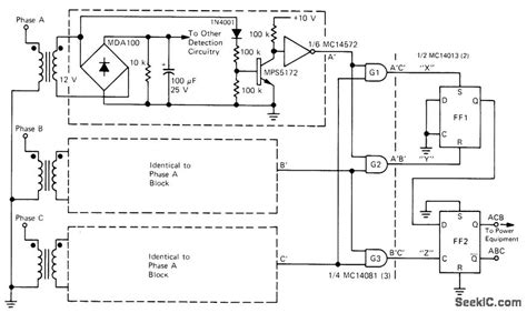 phase detector circuit diagram phase reversal detector measuring and test circuit