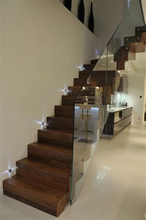 wood and glass banister wood cladded straight staircase glass balustrade contemporary staircase other