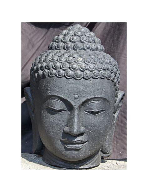 Tete De Bouddha En t 234 te de bouddha en press noir hauteur 55cm